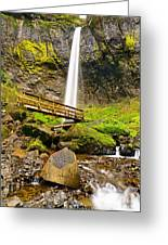 Lower Angle Of Elowah Falls In The Columbia River Gorge Of Oregon Greeting Card