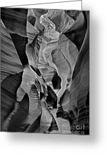 Lower Antelope Glow Black And White Greeting Card
