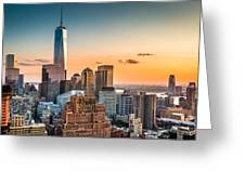 Lower Manhattan At Sunset Greeting Card