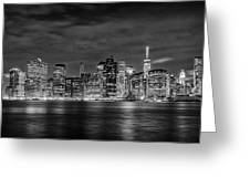Night Skyline Of Lower Manhattan From Brooklyn Greeting Card