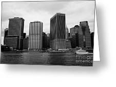Lower Manhattan Shoreline And Skyline And Financial District Waterfront New York City Greeting Card