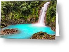 Lower Rio Celeste Waterfall Greeting Card by Andres Leon