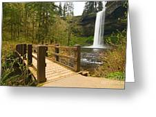Lower South Waterfall With Footbridge In Oregon Columbia River Gorge. Greeting Card