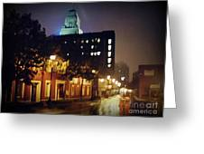 Lower Water Street In The Fog Halifax Nova Scotia Greeting Card