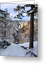 Lower Yellowstone Falls In October Greeting Card