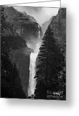 Lower Yosemite Falls Bw Greeting Card