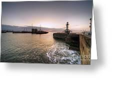 Lowestoft Harbour At Dawn Greeting Card