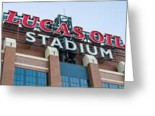 Lucas Oil Stadium Sign Greeting Card by James Drake