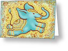 Lucky Elephant Turquoise Greeting Card