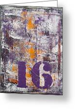 Lucky Number 16 Purple Orange Grey Abstract By Chakramoon Greeting Card