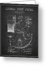 Ludwig Foot Pedal Patent Drawing From 1909 - Dark Greeting Card