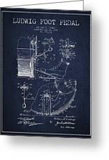 Ludwig Foot Pedal Patent Drawing From 1909 - Navy Blue Greeting Card