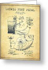 Ludwig Foot Pedal Patent Drawing From 1909 - Vintage Greeting Card