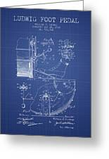 Ludwig Foot Pedal Patent From 1909 - Blueprint Greeting Card