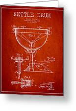 Ludwig Kettle Drum Drum Patent Drawing From 1941 - Red Greeting Card