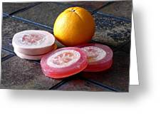 Luffa Red And Pink Soap Greeting Card