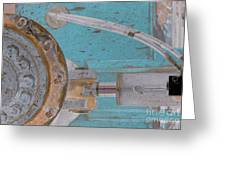 Lug Nut Wheel Left Turquoise And Copper Greeting Card