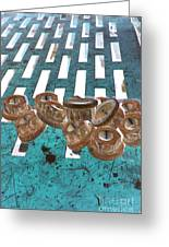 Lug Nuts On Grate Vertical Turquoise Copper Greeting Card