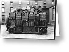 Luggage Cart At Train Station, 1910s Greeting Card