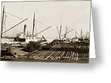 Lumber Steamers Unloading At Redwood Mfg. Co.s Wharf Pittsburg Circa 1920 Greeting Card