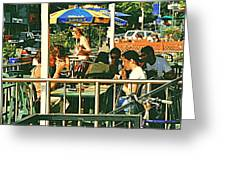 Lunch Party At The La Belle Gueule Brasserie Terrace - Park Your Bike And Enjoy The Sunny Day Greeting Card