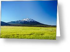 Lush Green Meadow And Mount Bachelor Greeting Card
