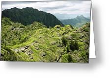 Lush Hawaiian Mountains Greeting Card