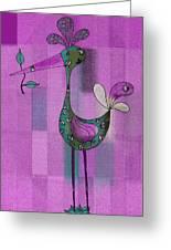Lutgarde's Bird - 061109106-purple Greeting Card