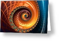 Luxe Fractal Spiral Brown And Blue Greeting Card