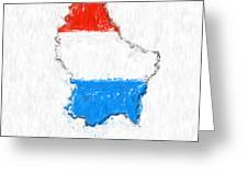Luxembourg Painted Flag Map Greeting Card