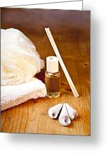 Luxury Bath Or Shower Set With Towel Sponge Perfume And Shells On Wooden Table Greeting Card by Gino De Graaf