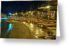 Luxury Hotel At Night Greeting Card