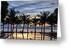 Luxury Infinity Pool At Sunset Greeting Card