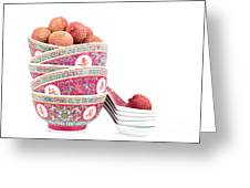 Lychees In Bowls With Spoons Greeting Card