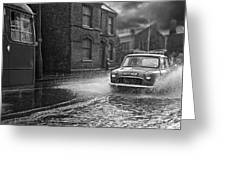 Lye Rain Storm, Morris Mini Car - 1960's    Ref-246 Greeting Card