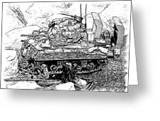 M 4 Sherman Break Out From Normandy Greeting Card