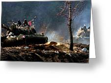 M48 Tanks An Tankers On The Job In Korean War Greeting Card