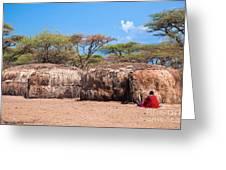 Maasai Huts In Their Village In Tanzania Greeting Card