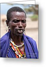 Maasai Man Portrait In Tanzania Greeting Card