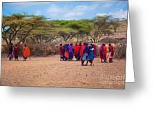 Maasai People And Their Village In Tanzania Greeting Card