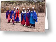 Maasai Women In Front Of Their Village In Tanzania Greeting Card