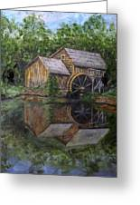 Mabry Mill Oil On Slate Greeting Card