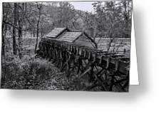 Mabry Mill Water Shute In Black And White Greeting Card