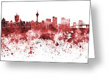 Macau Skyline In Red Watercolor On White Background Greeting Card
