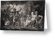 Macbeth, The Three Witches And Hecate Greeting Card