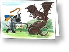 Macduff And The Dragon Greeting Card by Margaryta Yermolayeva
