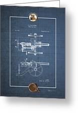 Machine Gun - Automatic Cannon By C.e. Barnes - Vintage Patent Blueprint Greeting Card