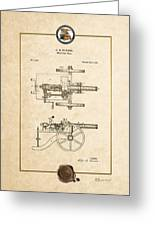 Machine Gun - Automatic Cannon By C.e. Barnes - Vintage Patent Document Greeting Card