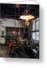 Machine Shop With Lantern Greeting Card