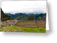 Machu Picchu Main Square And The Group Of The Three Doorways Greeting Card